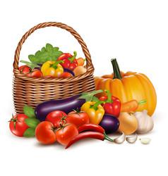 a basket full fresh vegetables background vector image