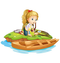 A sad girl trapped in an island vector image