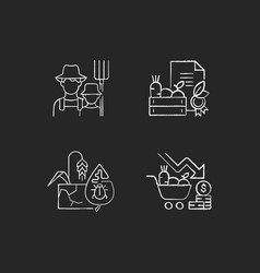 Agribusiness chalk white icons set on dark vector