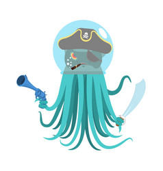 Alien intruders space pirate octopus cosmic vector