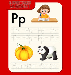 Alphabet tracing worksheet with letter p and p vector