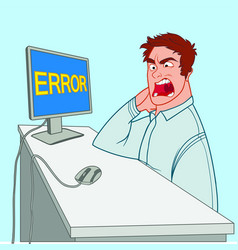 An angry office worker looks at a mistake on a vector