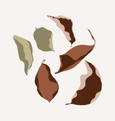 autumn dried leaves in trendy flat vector image