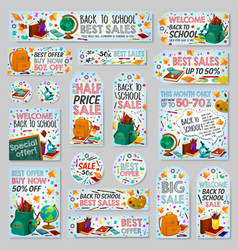 Back to school discount sale shop posters vector