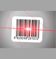 barcode sticker with bright red rays barcode vector image