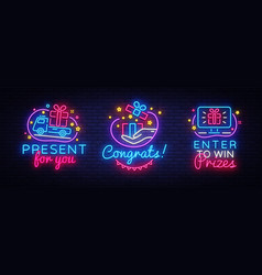 big neon signs prizes gift neon banner vector image