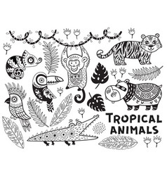 Black and white set of tropical animals vector