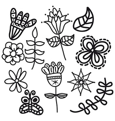 black flowers over white background vector image
