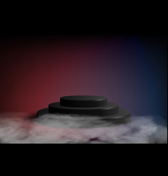 Black podium on dark blue and red background vector