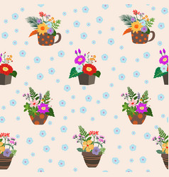 Blooming colorful flowers on pot seamless pattern vector
