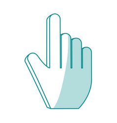 Blue shading silhouette of hand cursor pointer vector