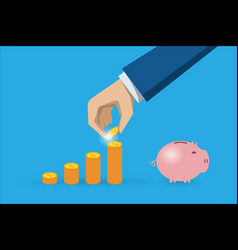 business hand with coins stack and piggy bank vector image