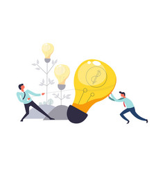 Business teamwork of people pulling lightbulb vector
