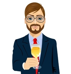 businessman toasting with a glass of champagne vector image
