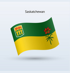Canadian province of saskatchewan flag waving form vector