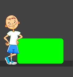 Cartoon boy character is leaning board kid vector