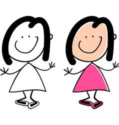 cartoon cute happy little girl vector image