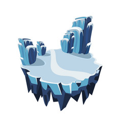 Cartoon isometric icy island for game vector