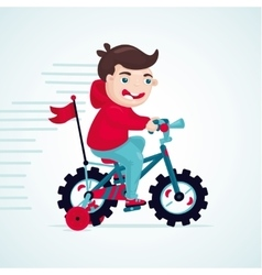 Child on a bike Little boy is cycling kids vector image