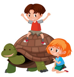 children riding a turtle vector image