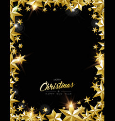 Christmas and new year gold star frame card vector