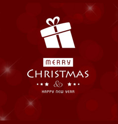 christmas card with red background and gift box vector image