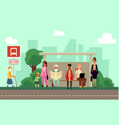 city bus stop with people waiting on sidewalk vector image