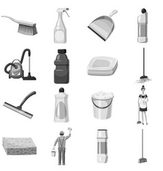 cleaning icons set monochrome vector image