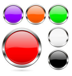 colored buttons set shiny 3d glass round icons vector image
