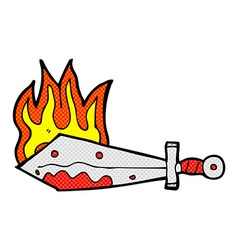 comic cartoon flaming sword vector image