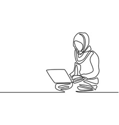 Continuous line muslim woman learning or with help vector