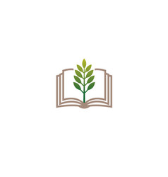 creative book green plant logo vector image