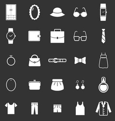 Dressing icons on black background vector