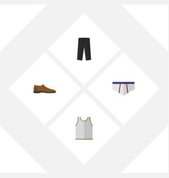 Flat icon dress set of male footware underclothes vector