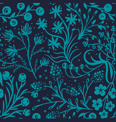 Floral seamless pattern hand drawn flowers vector