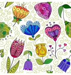 Flowers doodle seamless pattern vector