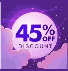 forty five percent discount numbers against the vector image