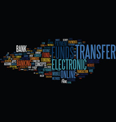 Funds transfer word cloud concept vector