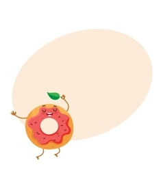 Funny donut character with pink glazing and vector