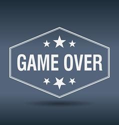 Game over hexagonal white vintage retro style vector