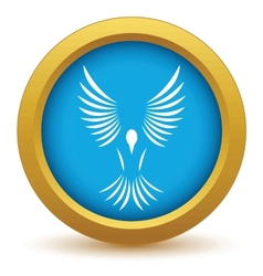 Gold bird icon vector image