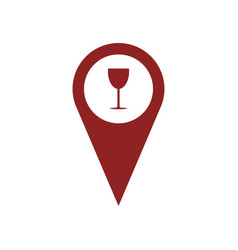 Gps icon with glass of wine vector