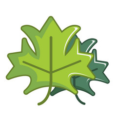 Green maple leaves icon cartoon style vector