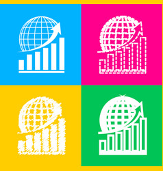 growing graph with earth four styles of icon on vector image