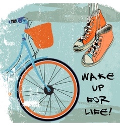 Gumshoes sketch bike hipster vector