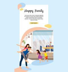 Happy family enjoying new home web banner vector