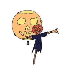 Happy halloween color icon moon pumpkin vector
