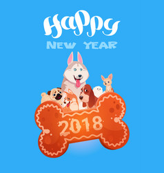 Happy new year 2018 greeting card with cute dogs vector