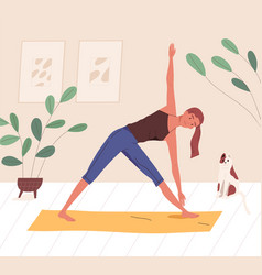 happy yogini enjoying training on mat at home vector image