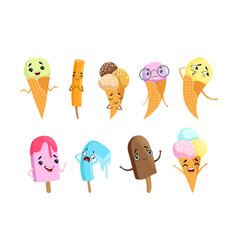 ice cream cartoon characters set happy ice cream vector image
